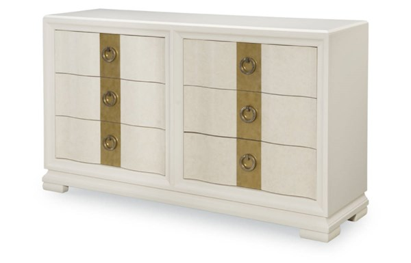 Tower Suite Contemporary Marbleized Pearl Wood Dresser LGC-5010-1200