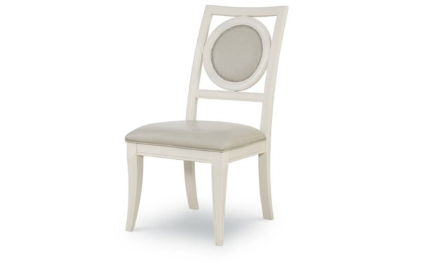 2 Tower Suite Marbleized Pearl Wood Upholstered Back Side Chairs LGC-5010-140KD