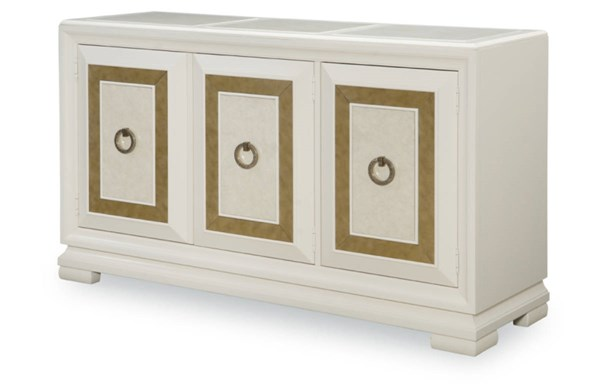 Tower Suite Contemporary Marbleized Pearl Wood Credenza LGC-5010-151