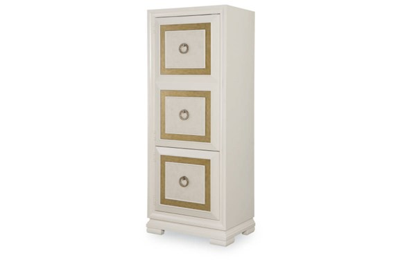 Tower Suite Contemporary Marbleized Pearl Wood Multi-Use Cabinet LGC-5010-2400