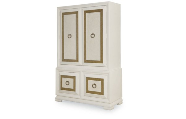 Tower Suite Contemporary Marbleized Pearl Wood Armoire LGC-5010-2501K