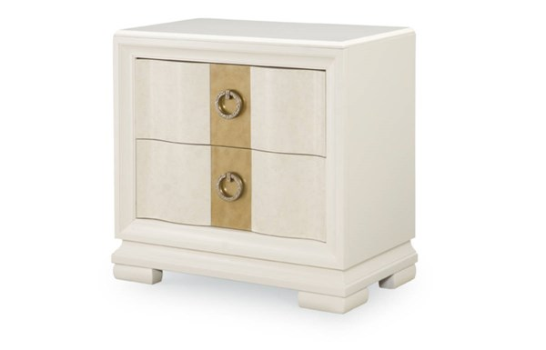 Tower Suite Contemporary Marbleized Pearl Wood Nightstand LGC-5010-3100