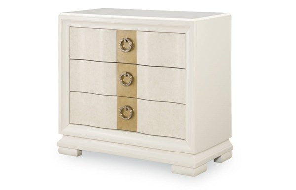Tower Suite Contemporary Marbleized Pearl Wood Bedside Chest LGC-5010-3200