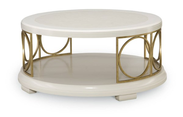 Tower Suite Contemporary Marbleized Pearl Wood Round Cocktail Table LGC-5010-401