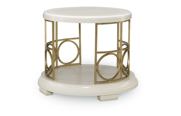 Tower Suite Contemporary Marbleized Pearl Wood Round End Table LGC-5010-408