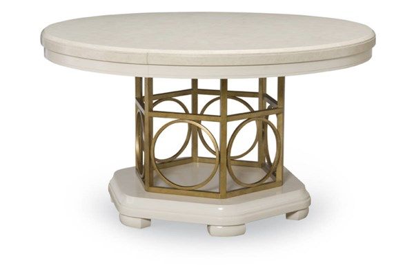Tower Suite Contemporary Marbleized Pearl Wood Round To Oval Table LGC-5010-521K