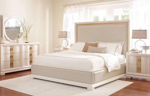 Tower Suite Marbleized Pearl 5pc Bedroom Set w/King Upholstered Bed LGC-5010-BR-S2