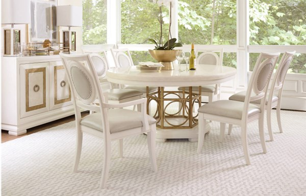 Tower Suite Marbleized Pearl Wood 5pc Dining Room Set w/Round Table LGC-5010-DR-S2