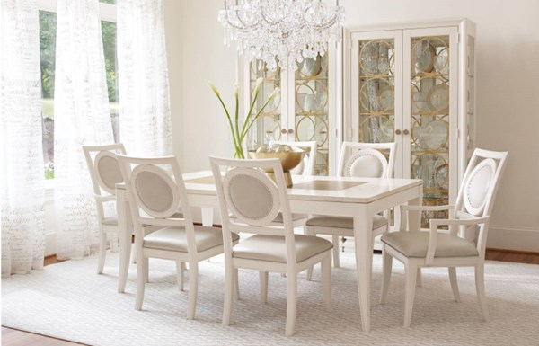 Tower Suite Marbleized Pearl Wood 7pc Dining Room Set w/Leg Table LGC-5010-DR-S3