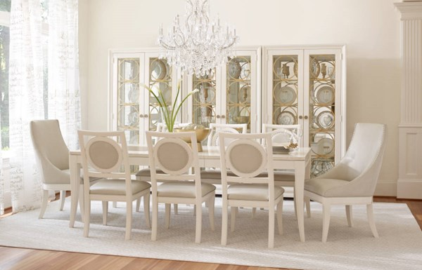 Tower Suite Marbleized Pearl Wood 7pc Dining Room Set w/Host Chair LGC-5010-DR-S4