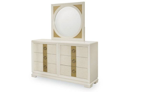 Tower Suite Contemporary Marbleized Pearl Wood Dresser & Pearl Mirror LGC-5010-DRMR1