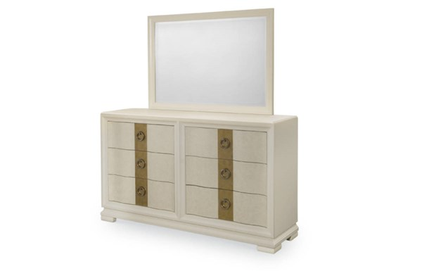 Tower Suite Marbleized Pearl Wood Dresser & Landscape Mirror LGC-5010-DRMR2