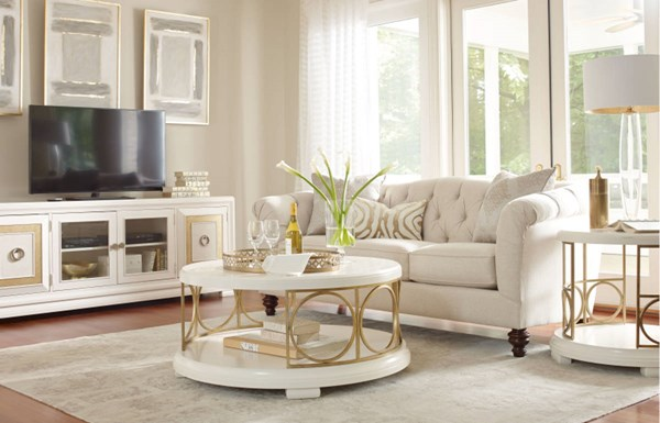 Tower Suite Marbleized Pearl Wood 3pc Round Coffee Table Set LGC-5010-OCT-S1