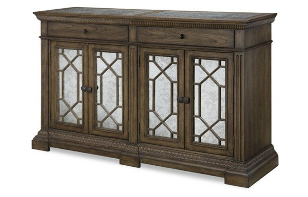 Renaissance Transitional Waxed Oak Wood Credenza w/Marble Top LGC-5500-151