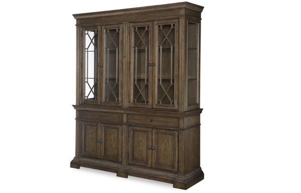 Renaissance Transitional Waxed Oak Wood China Hutch LGC-5500-372