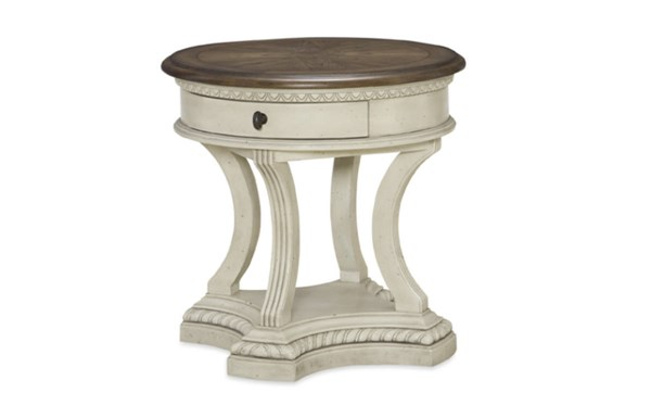 Renaissance Transitional Waxed Oak Wood Round End Table LGC-5500-408