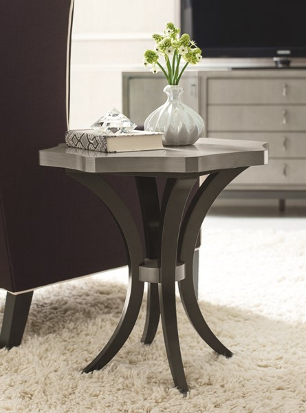 Legacy Furniture Symphony Platinum Black Tie Round End Table LGC-5640-507