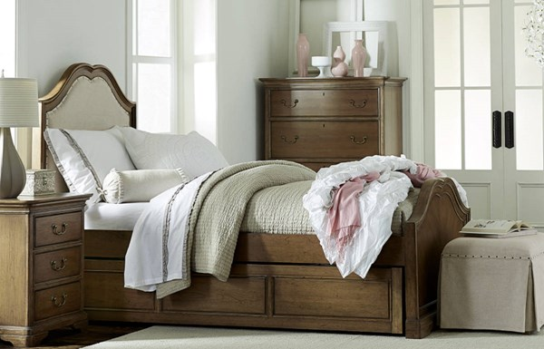 Danielle Wood Full Upholstered Panel Bed w/Trundle Storage Drawer LGC-5840-4114-TD