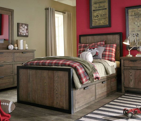 Fulton County Tawny Brown Wood Twin Panel Bed w/Underbed Drawer LGC-5900-4103-SD