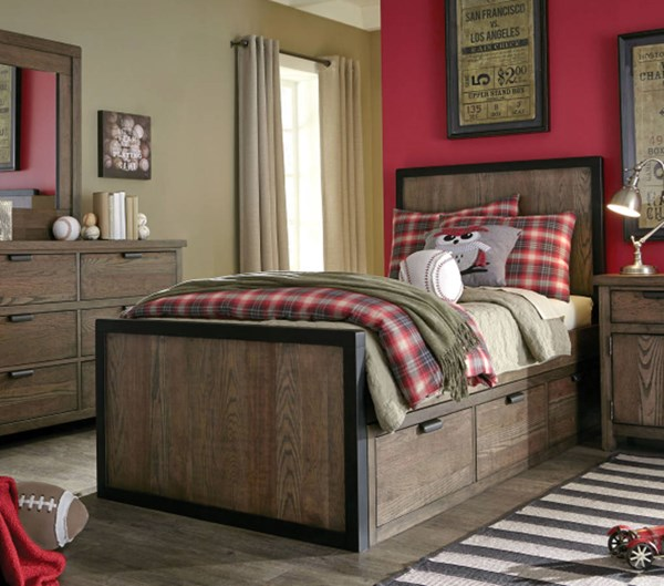 Fulton County Tawny Brown Wood Full Panel Bed w/Underbed Drawer LGC-5900-4104-SD