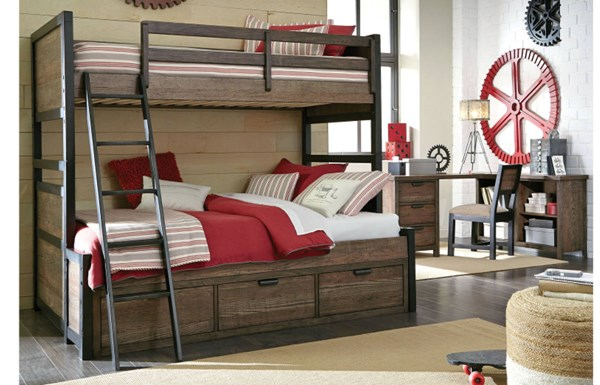 Legacy Kids Fulton County Tawny Brown Twin Over Twin Bunk Bed with Underbed Storage Drawer LGC-5900-8110K-SD