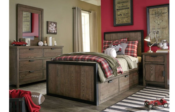 Fulton County Wood 2pc Bedroom Set W/Twin Underbed Drawer Panel Bed LGC-5900-BR-S2