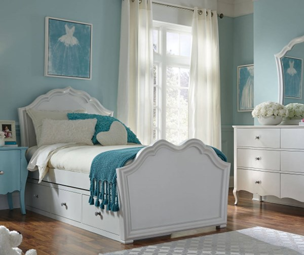 Tiffany Pearlized White Wood Twin Panel Bed w/Underbed Storage Drawer LGC-5930-4103-SD