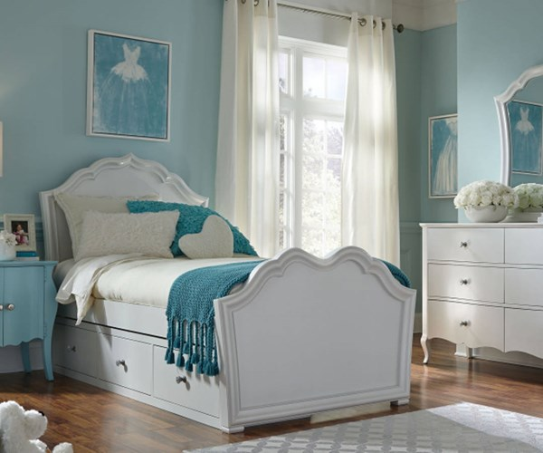 Tiffany Pearlized White Wood Full Panel Bed w/Underbed Storage Drawer LGC-5930-4104-SD