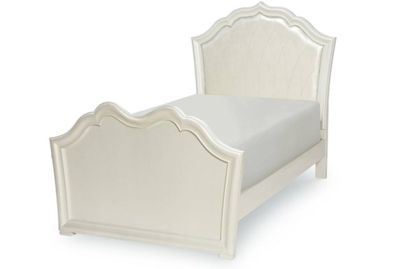 Tiffany White Wood 4pc Bedroom Set w/Full Upholstered Panel Bed LGC-5930-BR-S14