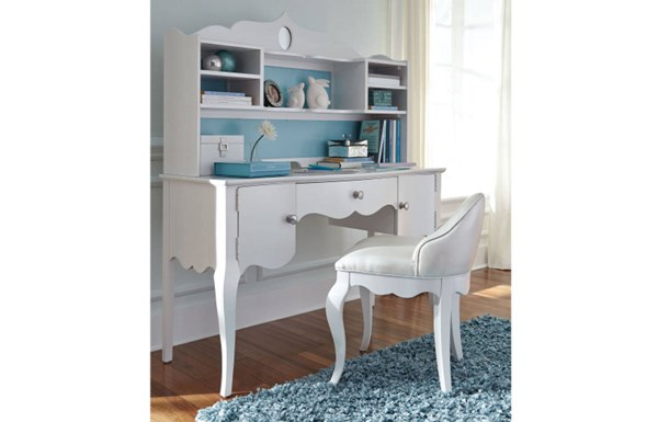 Tiffany White Wood Armless & Solid Back Desk Chair LGC-5930-640KD