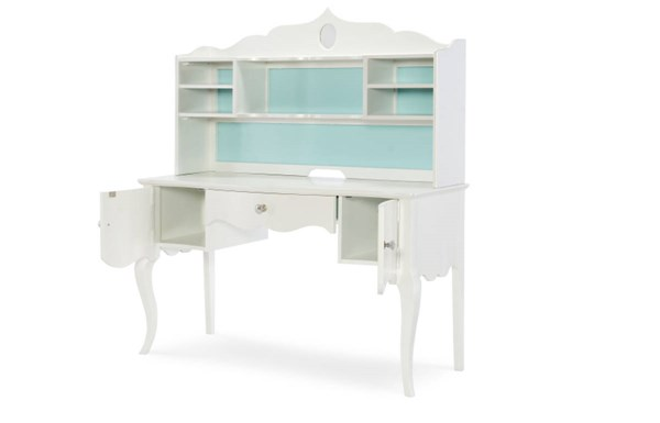 Tiffany Pearlized White Wood Desk W/doors & Drawer LGC-5930-6100