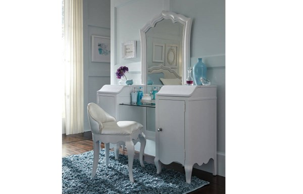 Tiffany Pearlized White Wood Glass Vanity LGC-5930-7400