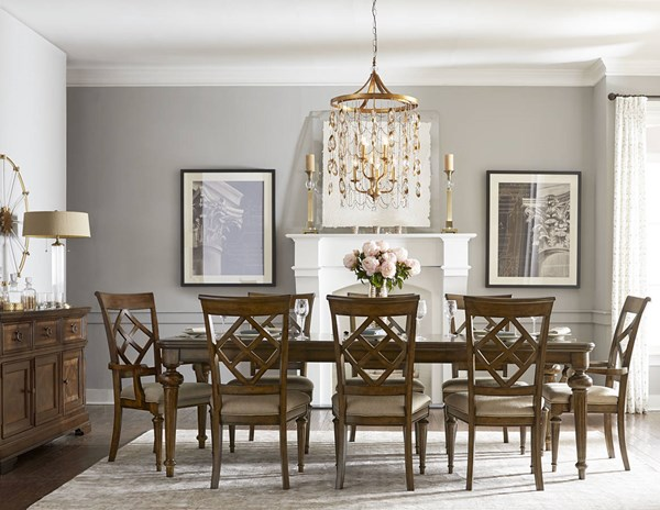 Latham Tawny Brown Fabric Rubberwood Solid Dining Room Set LGC-6070-DR
