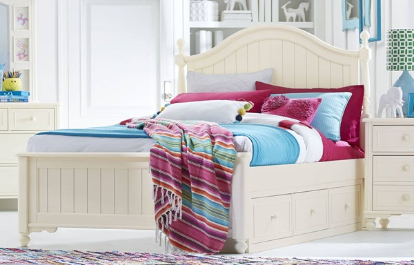 Legacy Kids Summerset Ivory Full Low Poster Bed with Underbed Storage Drawer LGC-6481-4204K-9300