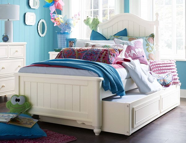 Legacy Kids Summerset Ivory Low Poster Beds with Trundle Storage Drawer LGC-6481-TD-BED-VAR