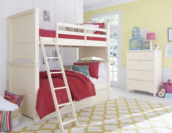 Legacy Kids Summerset Ivory Bunk Beds with Underbed Storage Drawer LGC-6481-BBED-SD-VAR