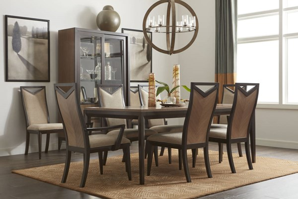 Urban Rhythm Milk Dark Chocolate Fabric Poplar Solid Dining Room Set LGC-6500-DR