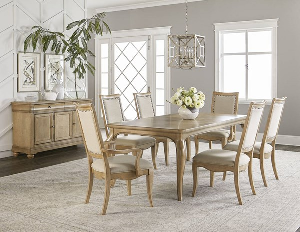 Ashby Woods Tan Aged Birch Fabric Poplar Solid Dining Room Set LGC-7060-DR