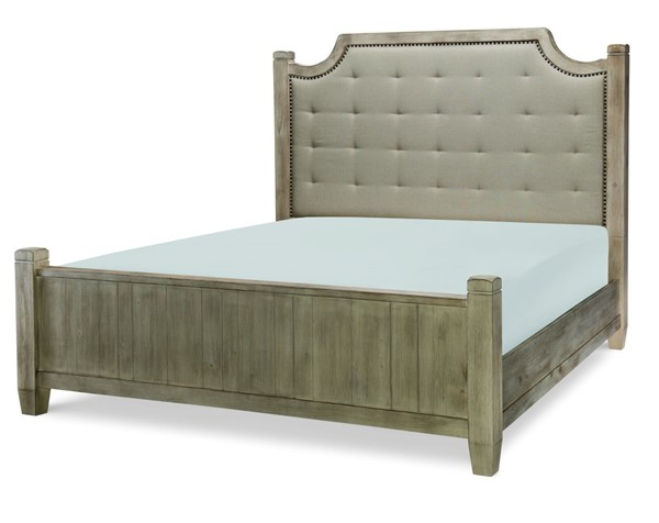 Legacy Furniture Monteverdi Sun Bleached Cypress Queen Upholstered Low Post Bed LGC-N7500-4205K