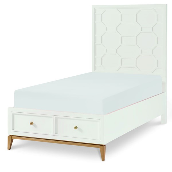 Legacy Kids Chelsea White Gold Panel Bed With Storage Footboard LGC-7810-4123-BED-VAR2