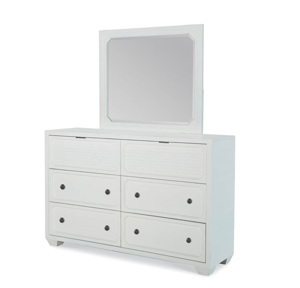 Legacy Furniture Willow Creek Aged White Dresser and Mirror LGC-8330-1200-DRMR