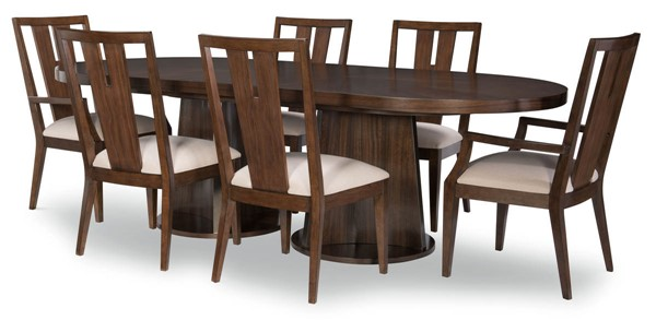 Legacy Furniture Paldao Sable Smoke Oval 7pc Dining Room Set with Splat Back Chair LGC-8460-621K-DR-S2