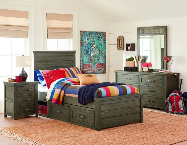 Legacy Kids Bunkhouse Aged Barnwood Louvered Panel Bed With Underbed Storage Unit LGC-8830-4103-BED-VAR2