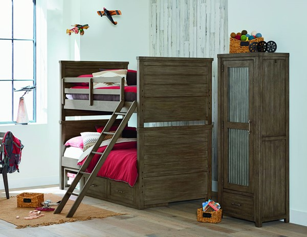 Legacy Kids Bunkhouse Aged Barnwood Bunk Bed With Underbed Storage Unit LGC-8830-8110-BNK-BED-VAR2