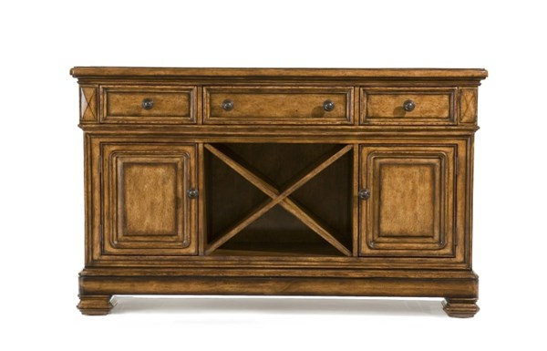 Larkspur Rustic Burnished Caramel Wood Credenza w/Marble LGC-931-151LC