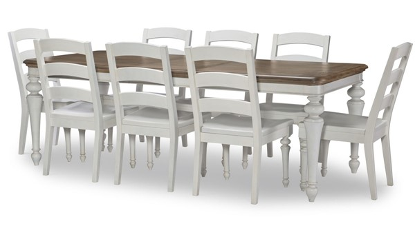 Legacy Furniture Farmdale Aged Taupe Rustic White 9pc Dining Room Set LGC-9770-121-DR-S3