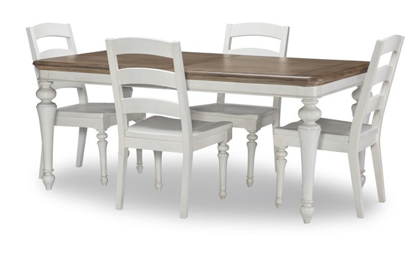 Legacy Furniture Farmdale Aged Taupe Rustic White 5pc Dining Room Set LGC-9770-121-DR-S1