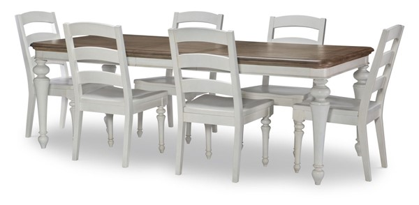 Legacy Furniture Farmdale Aged Taupe Rustic White 7pc Dining Room Set LGC-9770-121-DR-S2