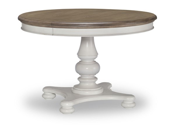 Legacy Furniture Farmdale Rustic White Round to Oval Pedestal Table LGC-9770-521