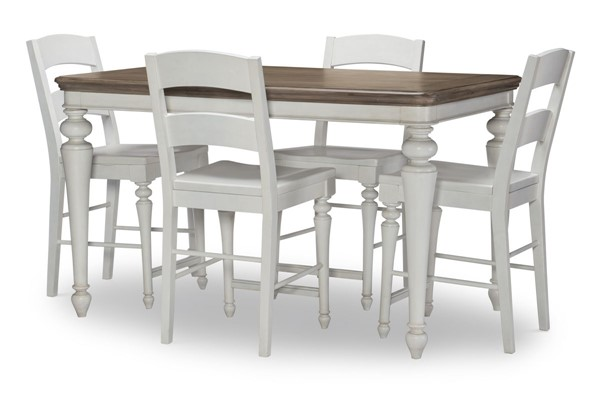 Legacy Furniture Farmdale Aged Taupe Rustic White 5pc Counter Height Bar Set LGC-9770-920-BAR-S1